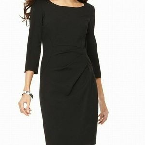 CALVIN KLEIN Womens Black Ruched 3/4 Sleeve Dress